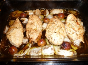 Balsamic Roasted Chicken with Figs and Sweet Onions, cooked