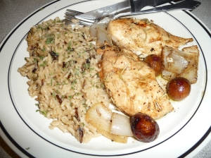 Balsamic Roasted Chicken with Figs and Sweet Onions, served with long grain wild rice